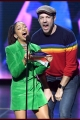 LOS ANGELES, CA - MARCH 23:  Liza Koshy and  Jason Sudeikis speak onstage at Nickelodeon's 2019 Kids' Choice Awards at Galen Center on March 23, 2019 in Los Angeles, California.  (Photo by Kevin Winter/Getty Images)
