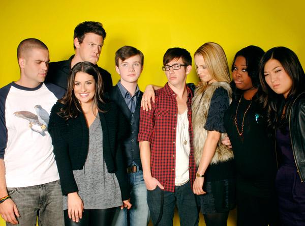 Lea Michele (Rachel), Cory Monteith (Finn), Amber Riley (Mercedes),